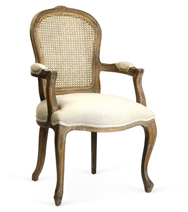 Lyon Cane-Back Armchair, Ivory