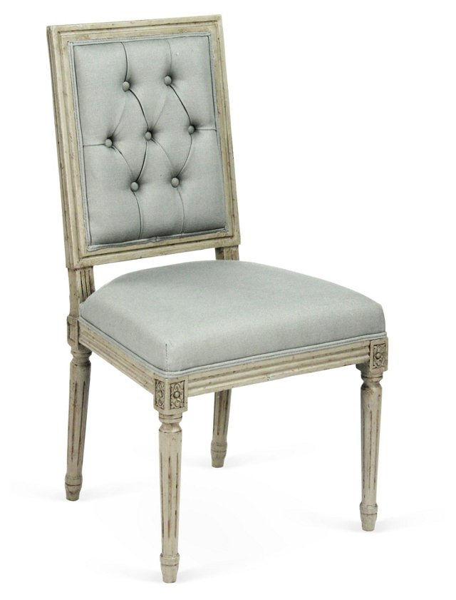 Valeria Tufted Side Chair, China Blue