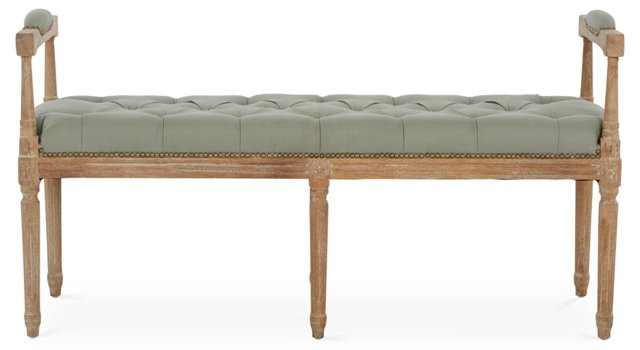 "Annalise 51"" Tufted Armed Bench, Blue"