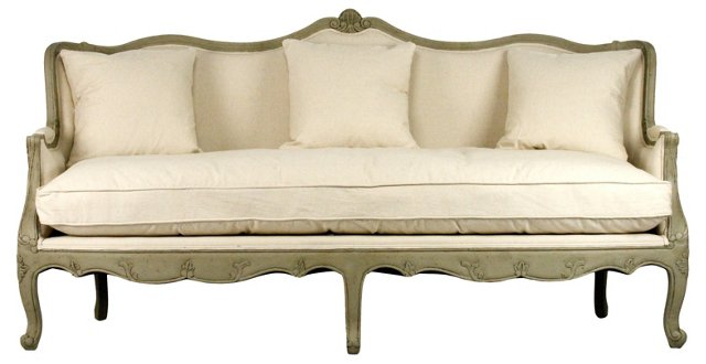 "Adele 78"" French Settee, Cream"