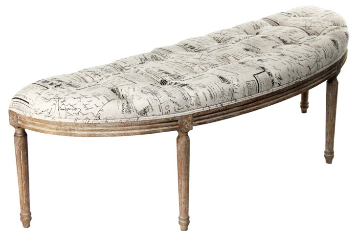 Louie Curved Bench, Script
