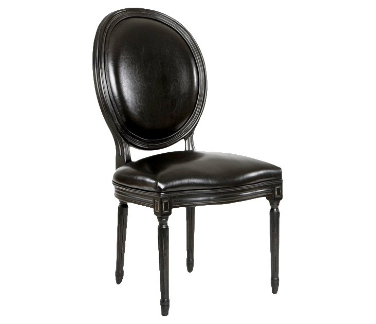 Octavia Leather Side Chair, Black