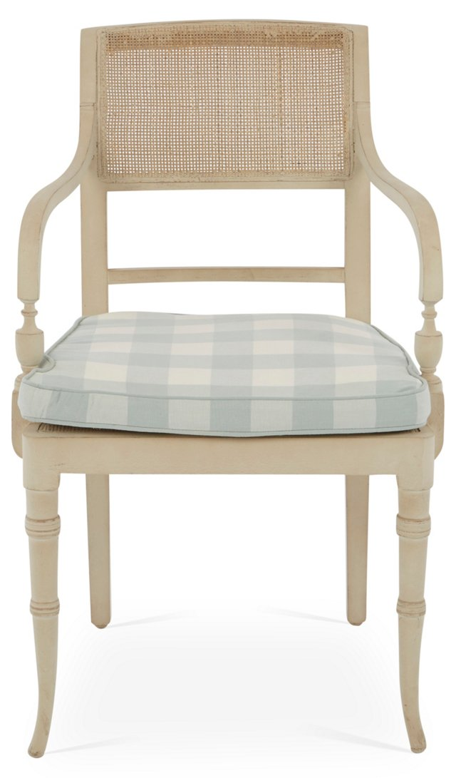 Jane Linen Armchair, Gray Plaid