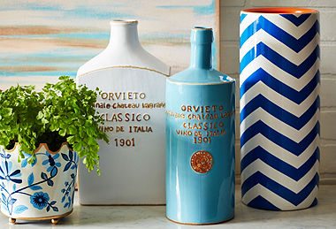 Accessories in Blue & White peach and blue painting