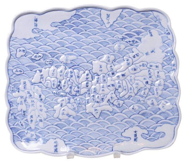 Ceramic Map Tray of Japan