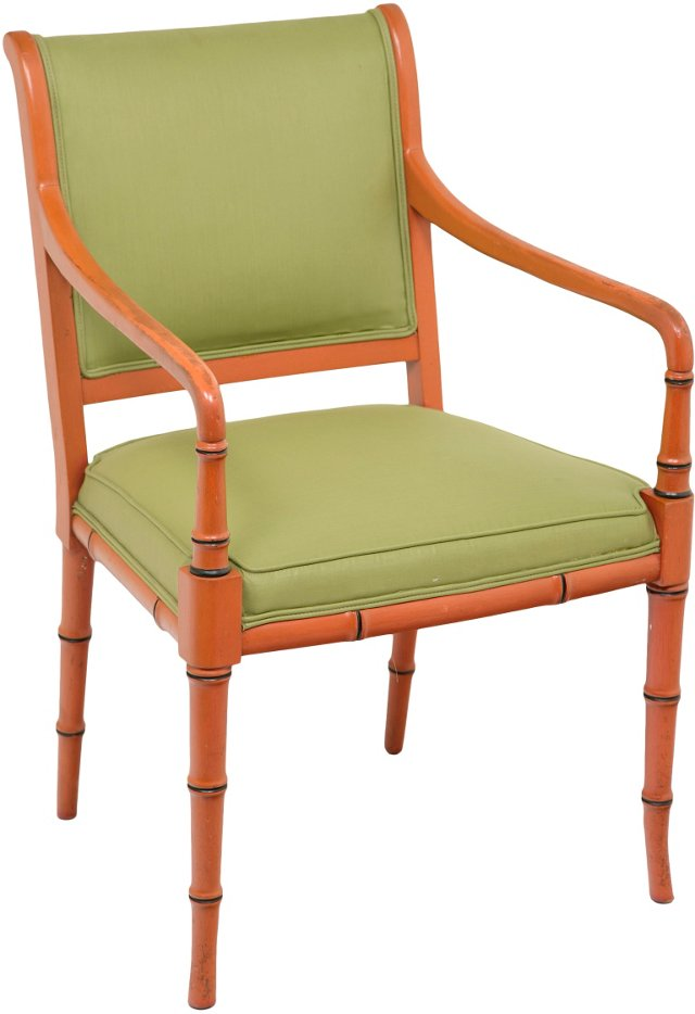 Painted Faux-Bamboo Armchair