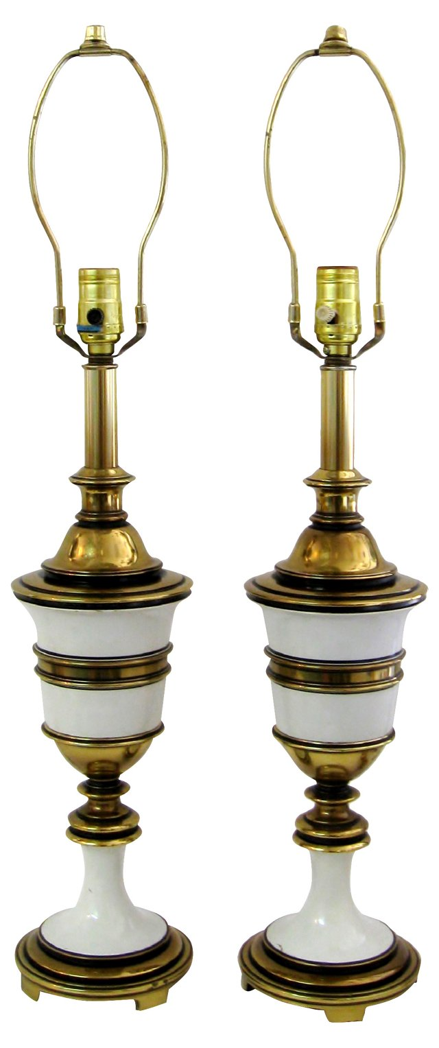 Brass & Cream Enamel Lamps, Pair