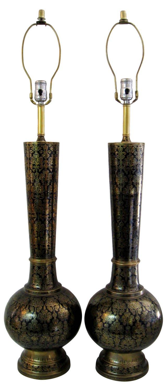 Moroccan Lamps, Pair