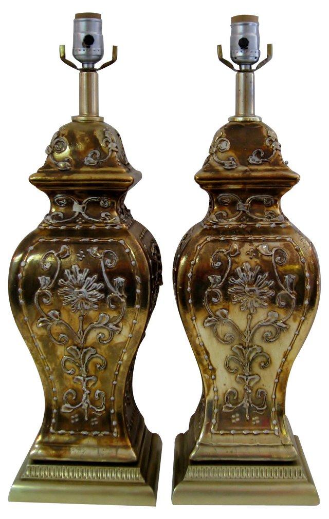 Gold Impasto Ceramic Lamps, Pair