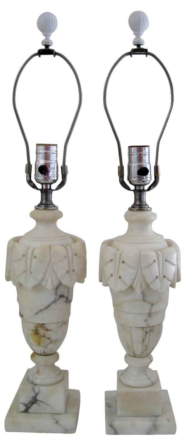 Alabaster Lamps, Pair