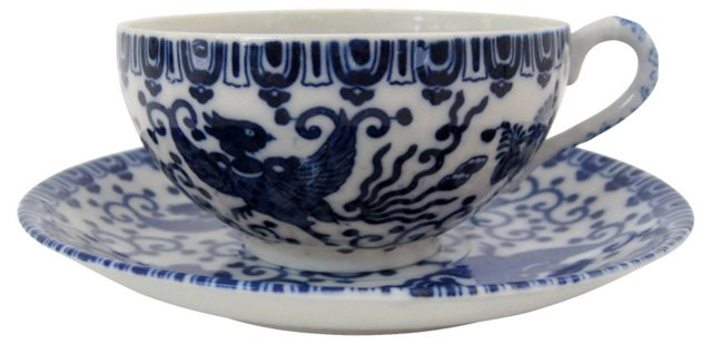 Hand-Painted Porcelain Cup & Saucer