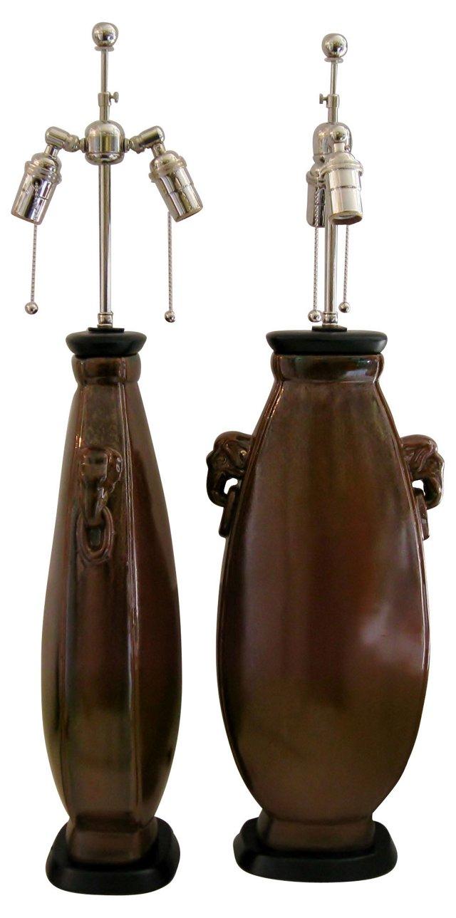 Elephant-Head Ceramic Lamps, Pair