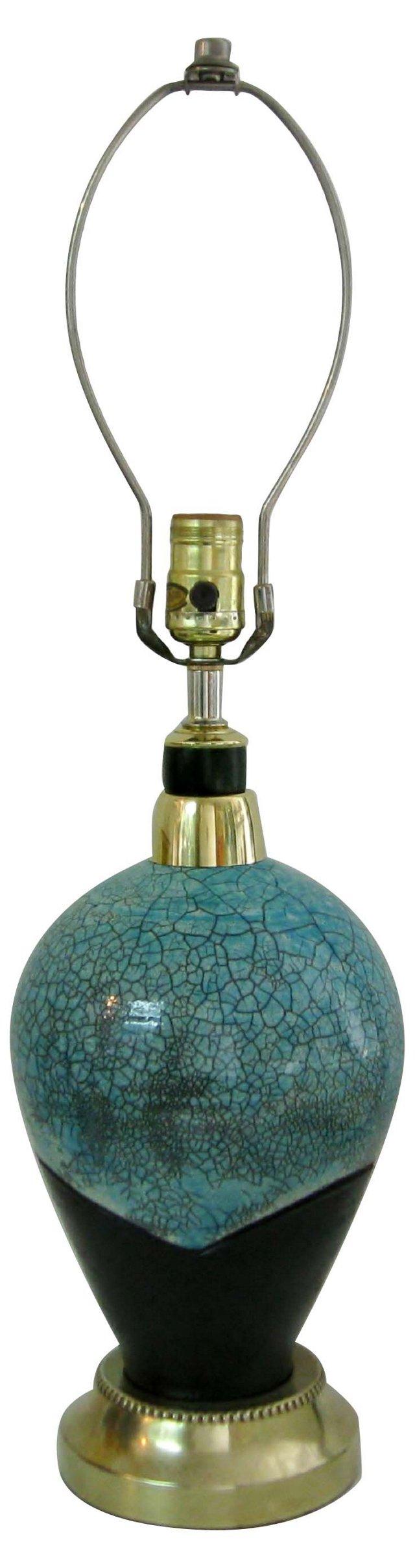 Turquoise Raku Ceramic Lamp