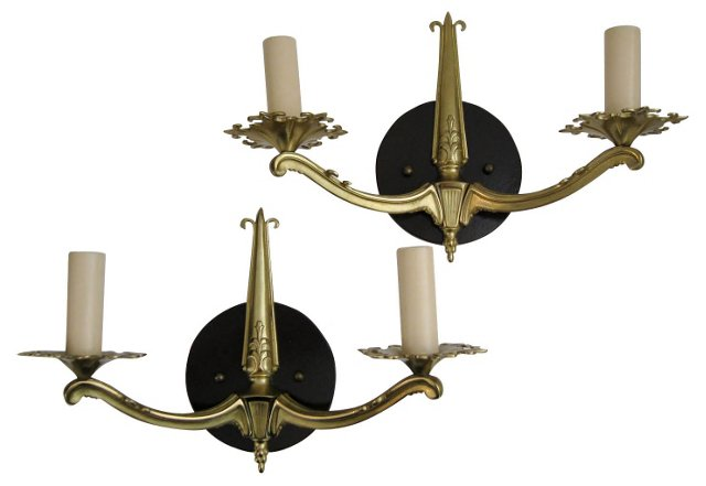 French Brass Candlestick Sconces, Pair
