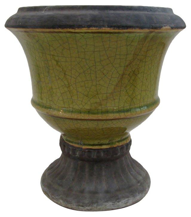Distressed Ceramic Urn Planter
