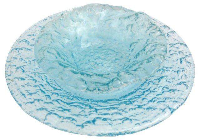 Glen Lukens Aqua Glass, Pair