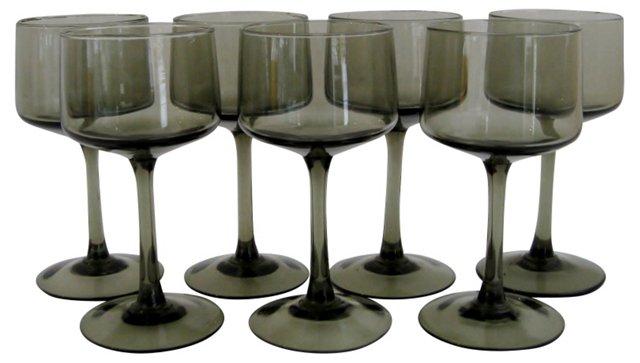 Scandinavian Smoke-Glass Stemware, S/7