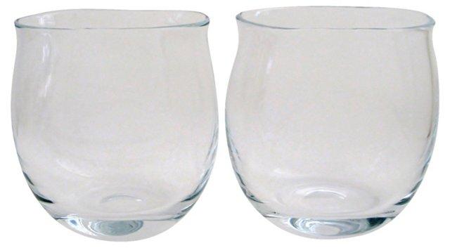 Tulip-Shaped Glass Vases, Pair