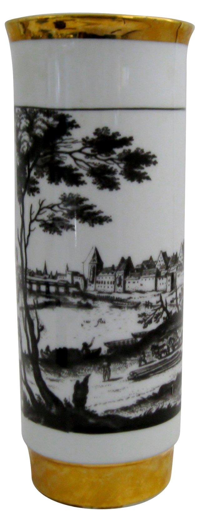 Black on White Porcelain Vase