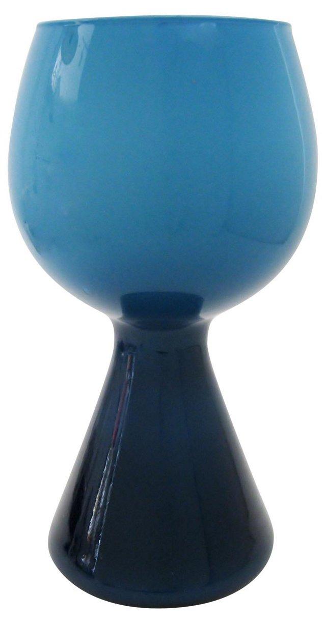 Blue on Blue Goblet Vase