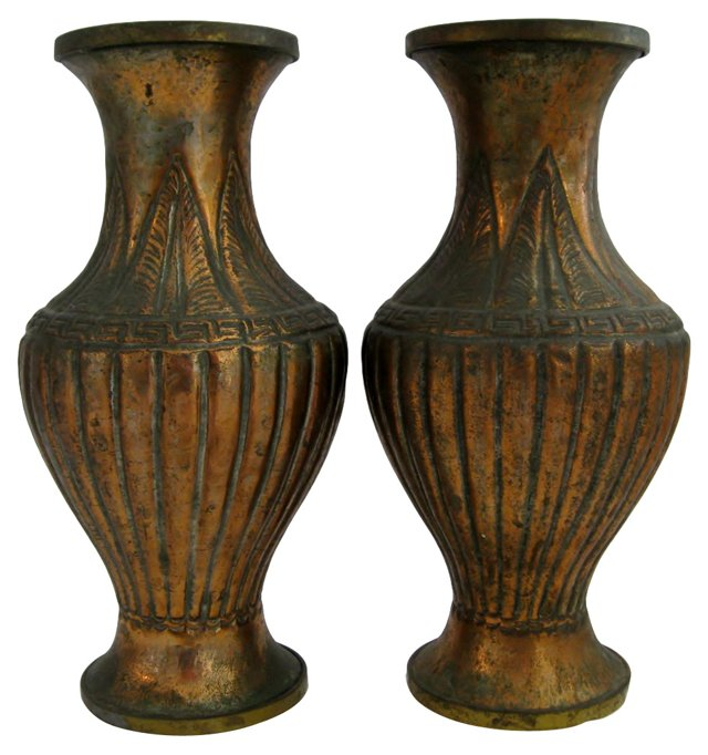 Copper Vases, Pair