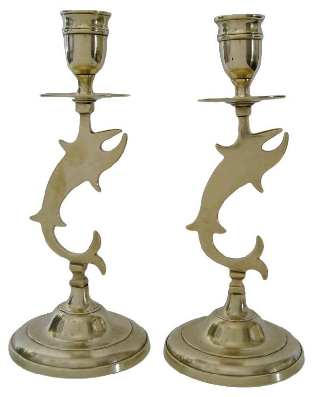 Brass Fish Candlesticks, Pair