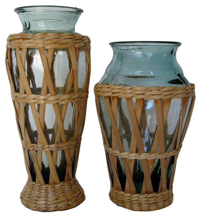 Wicker-Wrapped Bottles, Pair