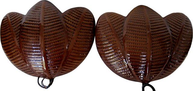 Italian Brown Ceramic Sconces, Pair