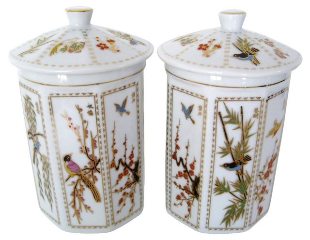 Porcelain Canisters w/ Birds, Pair