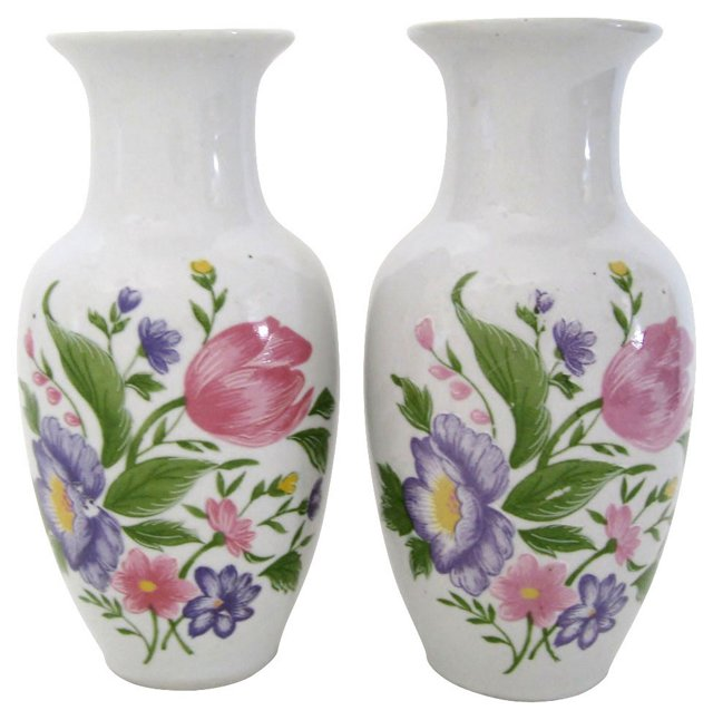 Floral Porcelain Vases, Pair