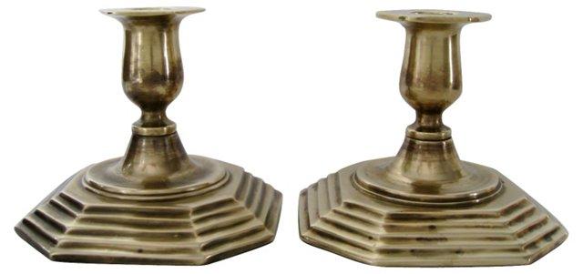 Terraced Brass Candlesticks, Pair