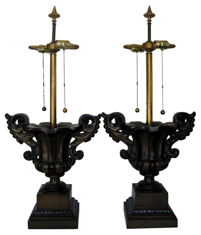 Wood Urn Lamps, Pair