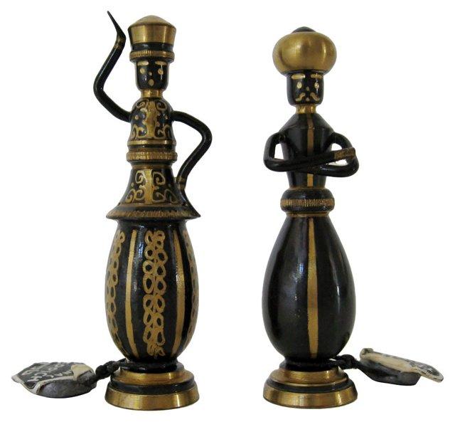 Teppich Bronze Mini Figurines, Pair