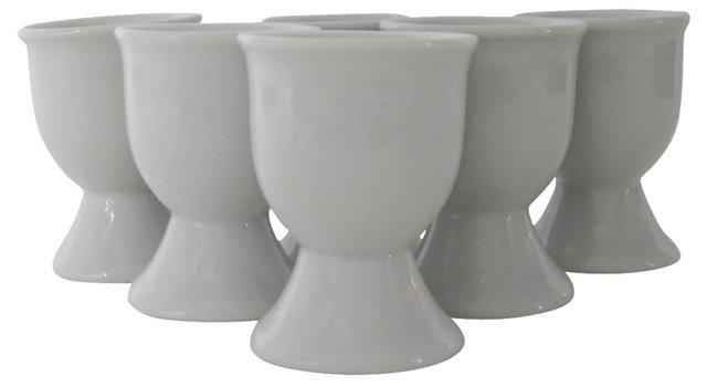 White Porcelain Egg Cups, S/6