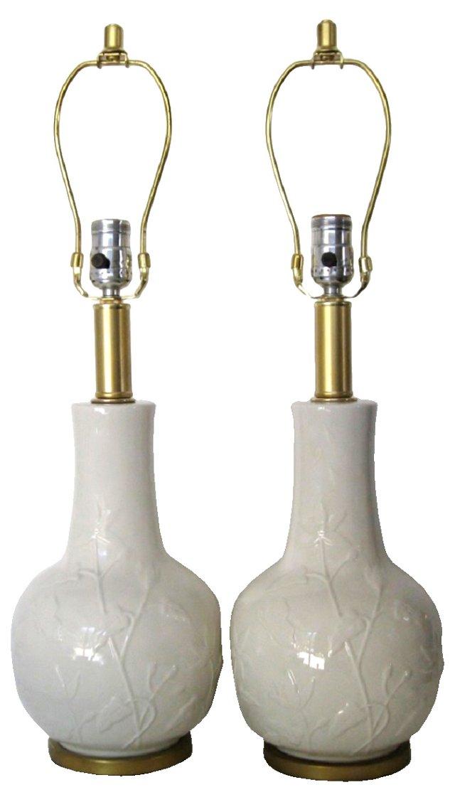 Embossed Cream Ceramic Lamps, Pair