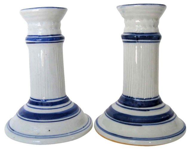Hand-Painted Candlesticks, Pair