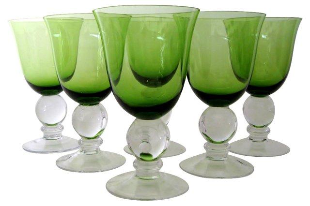 Green Stemware w/ Spheres, S/6