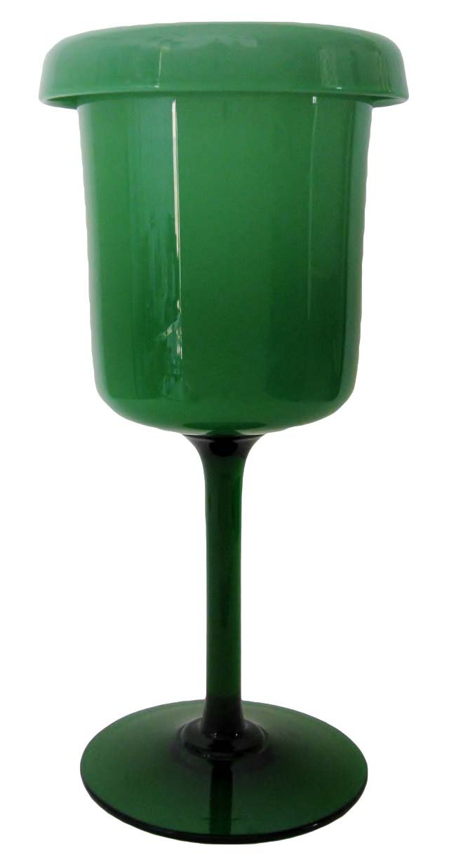 Green Cased Glass Goblet Vase