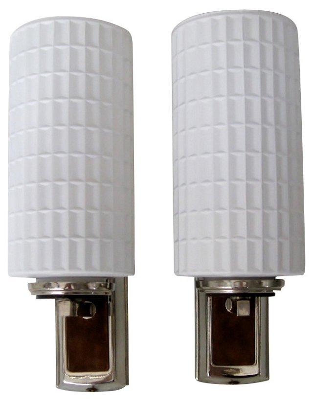 Suede-Backed Sconces, Pair