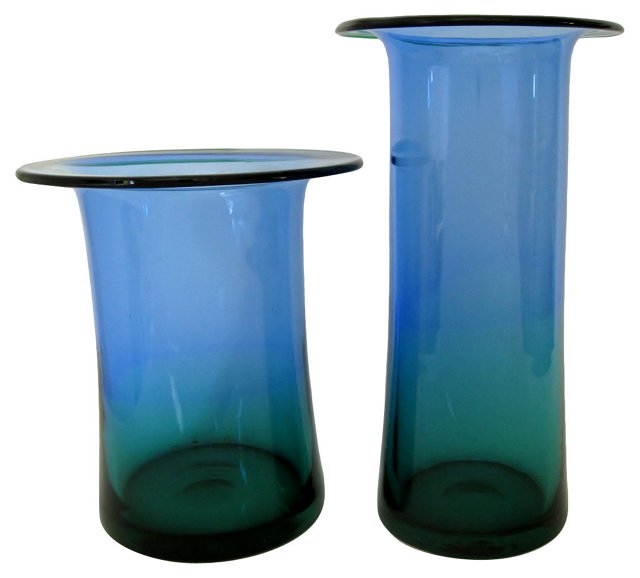 Blue & Teal Glass Vases, Pair