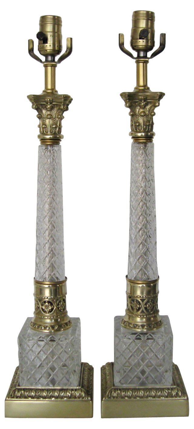 Crystal Column Lamps, Pair