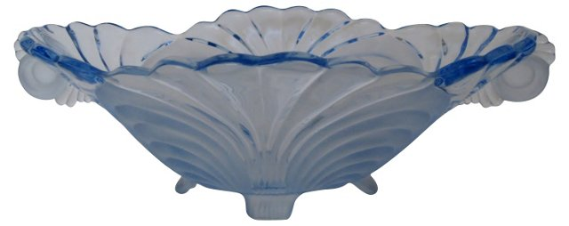 Cambridge Blue Glass Oval Bowl