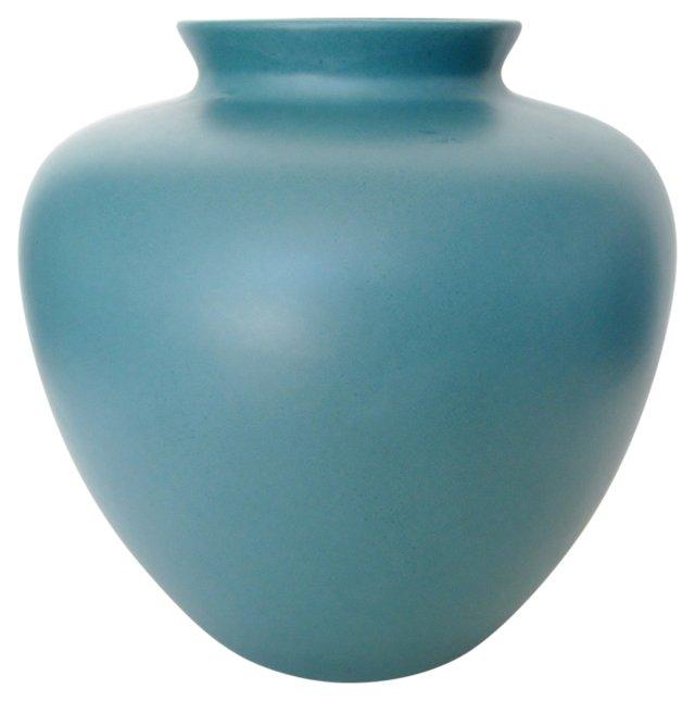 Teal Ceramic Ginger Jar Vase