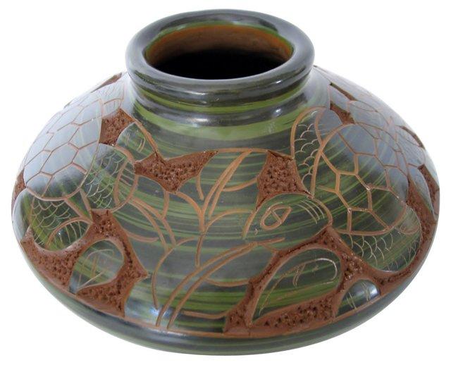 Ceramic Vase w/ Turtles