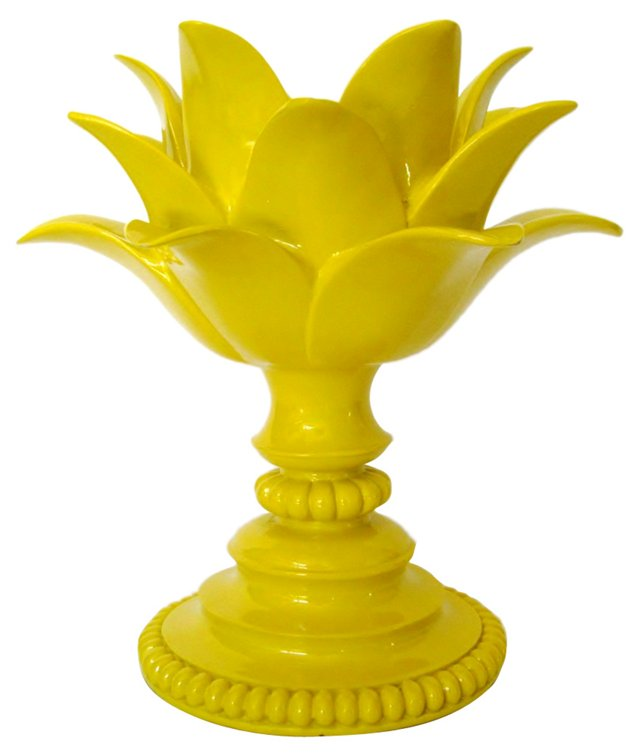Canary Yellow Resin Candleholder
