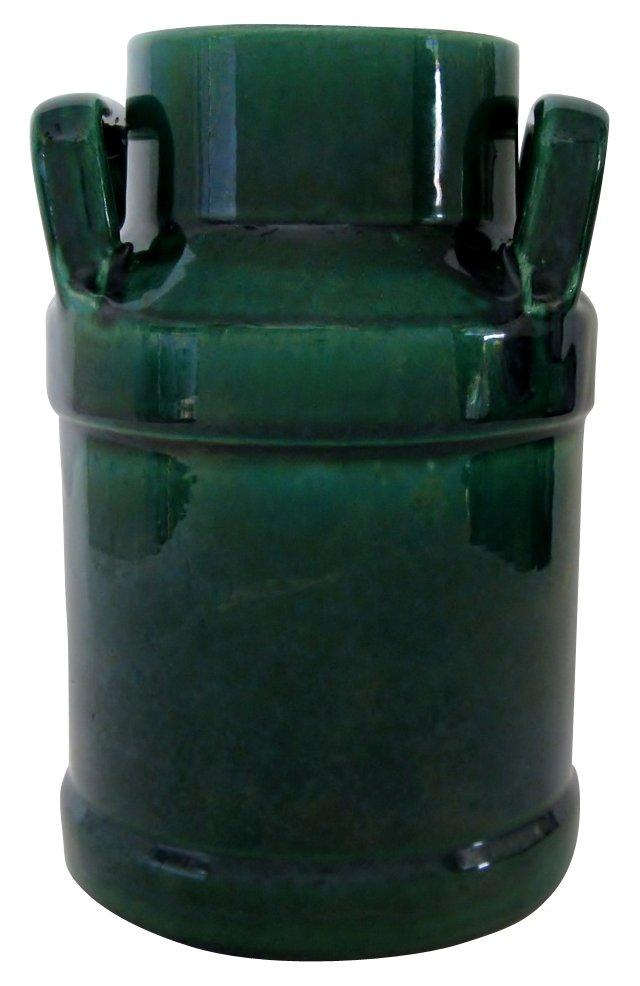 Blue on Green Ceramic Jug