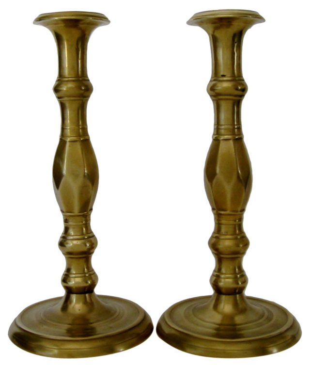 French Bronze Candlesticks, Pair