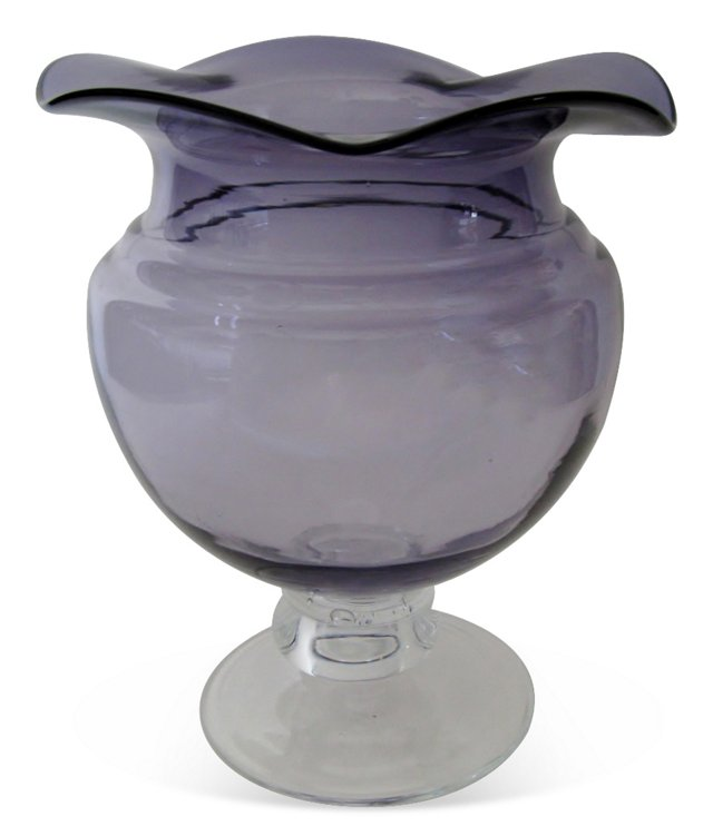 Purple Bibbed Pedestal Vase