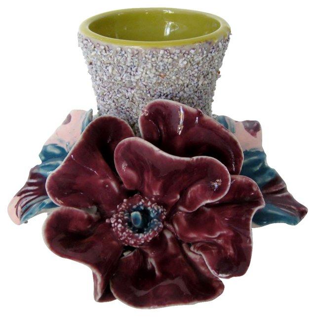 Majolica Sand Vase w/ Purple Flower