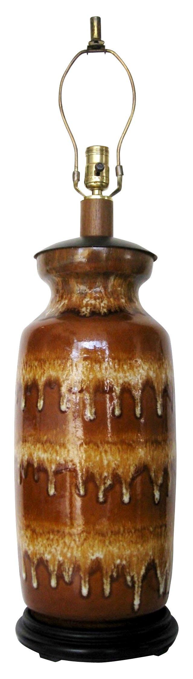 Amber Drip Glaze Ceramic Lamp